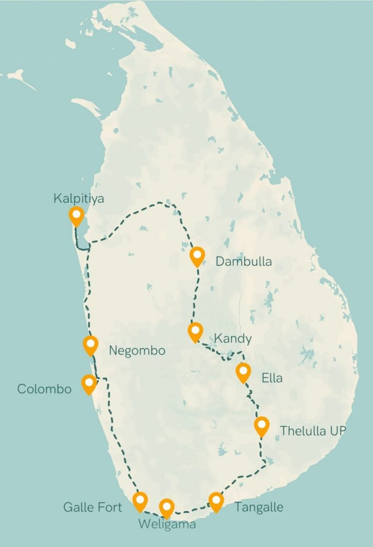 Sri Lanka kaart reisroute